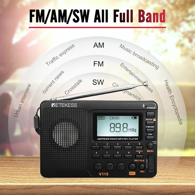 Радиоприемник RETEKESS V115 AM/FM/SW MP3
