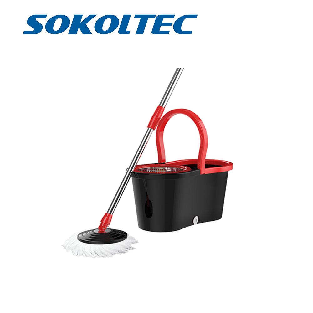 SOKOLTEC Floor Cleaning Rotating Hand Wash Squeeze Bucket Easy wring Stainless Steel Basket Microfiber Spin Mop&Bucket In Moscow(China)