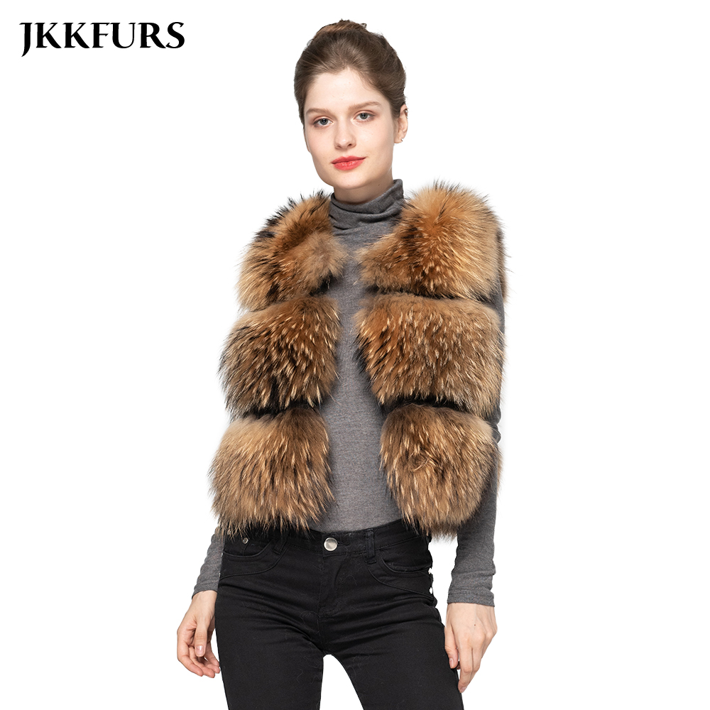 JKKFURS 2019 Fashion Style Women Real Raccoon Fur Vest Winter Thick Warm Gilet Waistcoat New 3 Rows S1150B