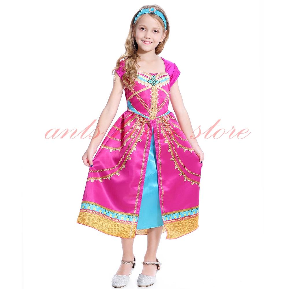 Image 5 - Aladdin Costume Jasmine Dress Pink Fuchsia Outfit For KidsGirls Costumes   -