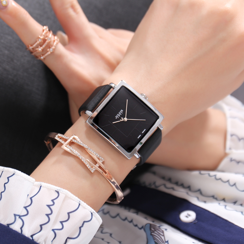 Hot Sale Fashion Trendy Big Dial Square Leather Strap Japan Quartz High Quality Women Watches Waterproof Men Unisex Clock Simple|Women's Watches| - AliExpress