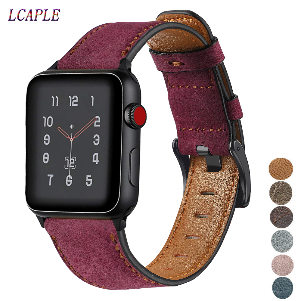 Retro Cow Leather Strap For Apple Watch Band 44 Mm 40mm IWatch Band 42mm 38mm Watchband Bracelet Correa Apple Watch 5 4 3 2 1 42