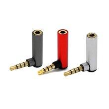 2PC 3.5MM Adapter do słuchawki Stereo 90 stopni kolanko 3.5mm Adapter z gniazda męskiego na żeńskie 4 sekcja L typ Audio końcówka do konwersji