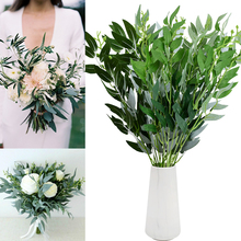 53cm Artificial Willow Leaves Bouquet Green Silk Leaves Fake Plants For Wedding Wreath Jungle Birthday Party Home Decor Foliage