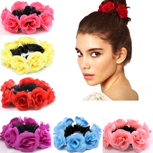 DUOJIAOYAN Color Flower Elastic Hair band Fabric Rope Charming Rose Rubber Ties