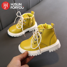 2021 New Children Snow Boots Warm Non-slip Shoes For Boys Girls Ace-Up Martin Boots Comfort Baby Rubber Boots Fashion Sneakers