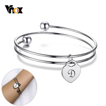 Vnox Expandable Women Bangle with Personalize Initial Heart Charm Silver Stainless Steel Name Cuff Bracelet Unique Custom Gift(China)