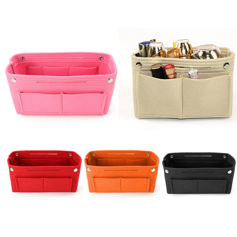 Felt Insert Purse Organizer Handbag Foldable Cosmetic Travel Bag For Women  J9