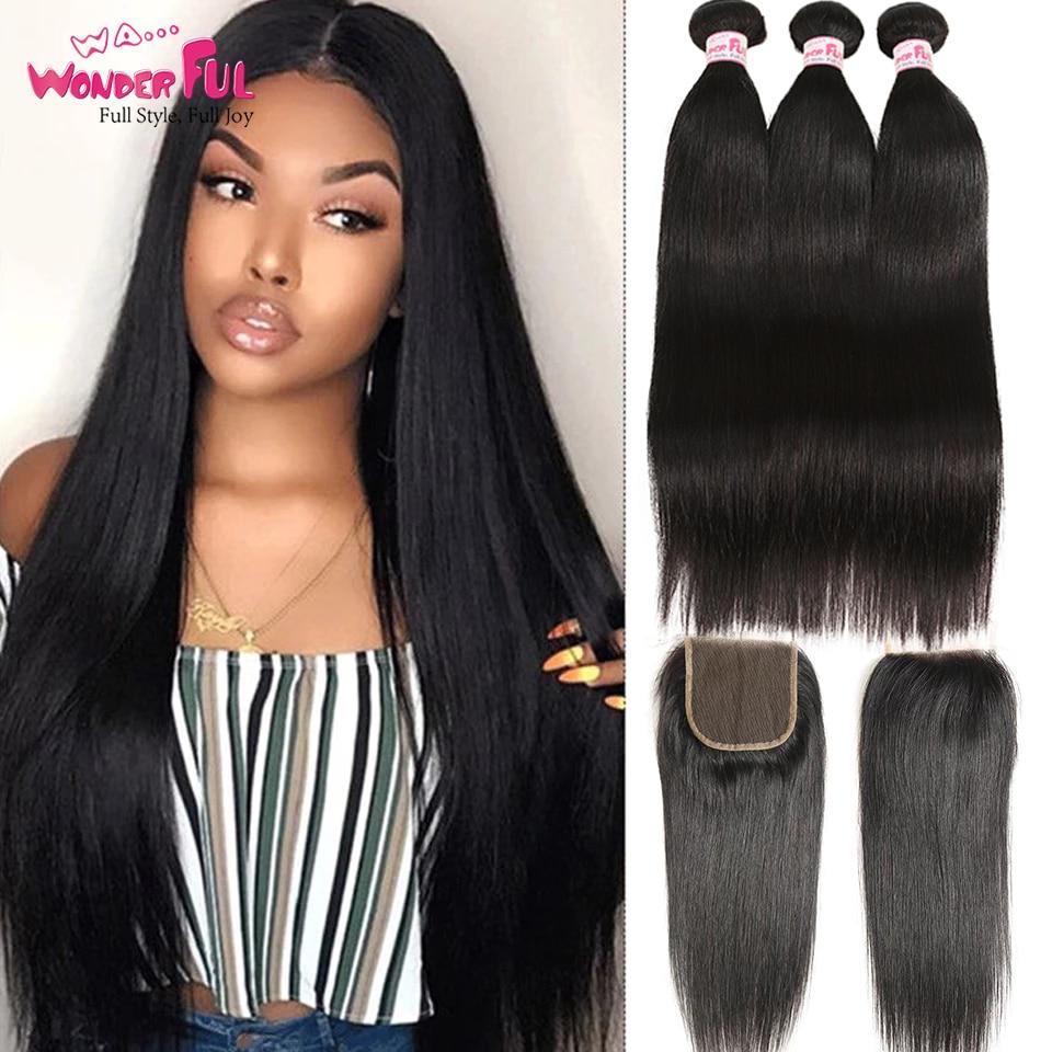 Замечательный бразильские прямые волосы пряди с закрытием коричневый 3/4 пряди с Закрытие естественного Цвет волос 28 дюймов