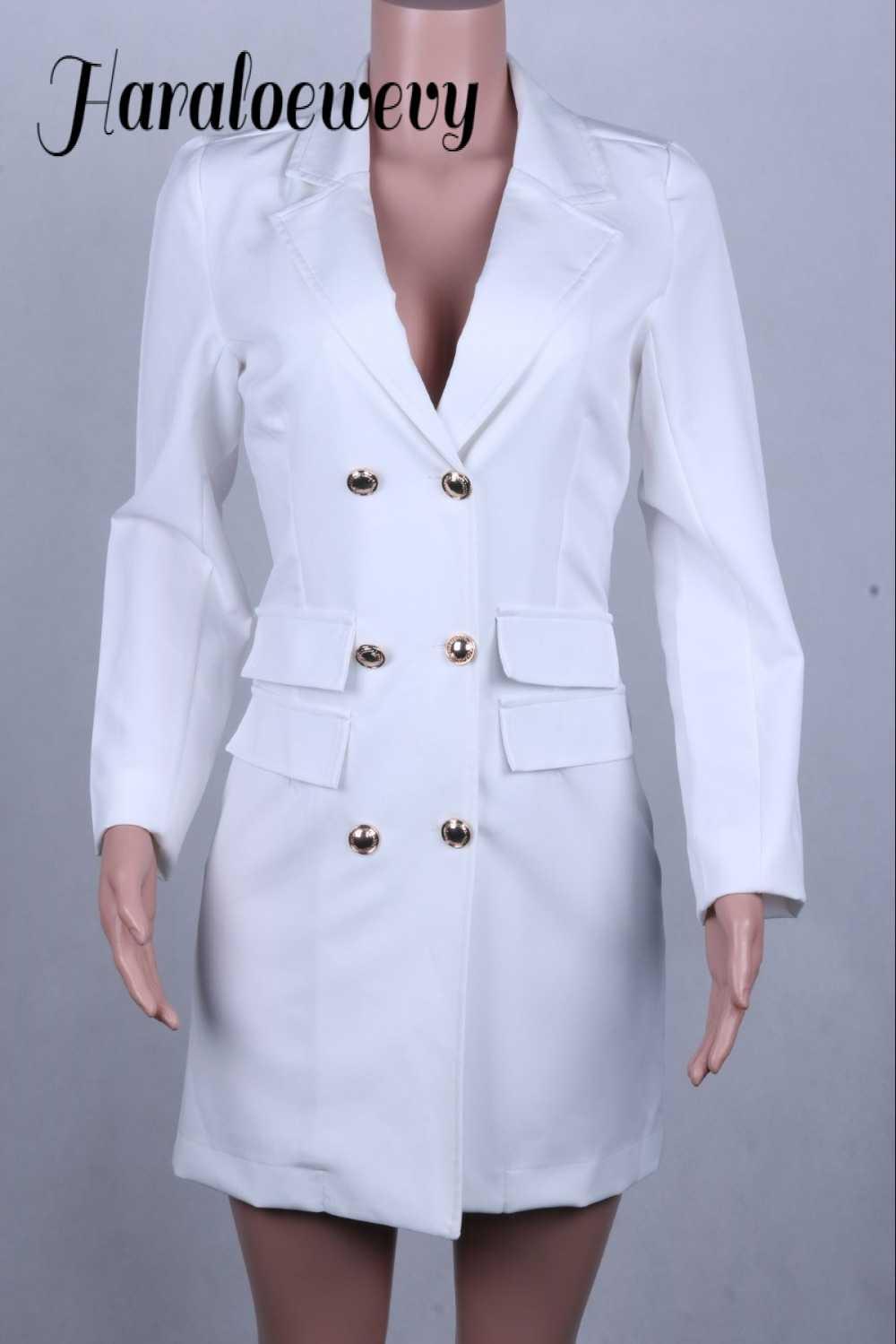 新ファッションドレスドレス女性ブラックホワイト V ネックボタンブレザースーツセクシーな冬のパーティーミニボディサイズドレスドレス