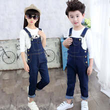Fashion Girls Denim Overalls Spring autumn New Children Clothing Kids suspender trousers Solid Casual jeans short 3-14 Y