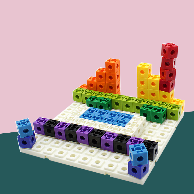 100Pcs Building Blocks Plastic Interlocking Intelligence Connection Square Interconnecting Blocks 10 Colors Kids Toys
