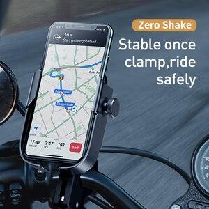 Image 2 - Baseus Bicycle Phone Holder Motorcycle Handlebar Support Moto Bicycle Rear View Mirror Stand Mount Motor Bike Phone Holder