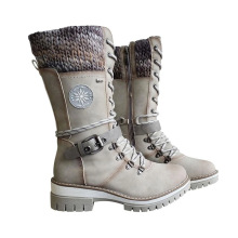 Boots Women with Side-Zipper Knitted Mid-High Wool Stitching Warm Winter New