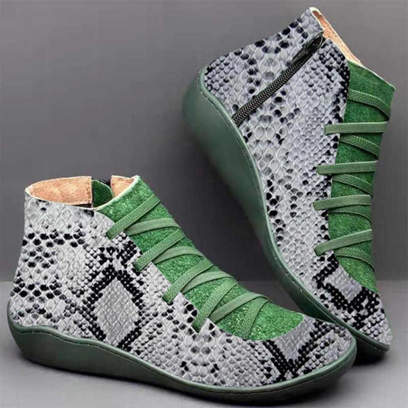 ฤดูใบไม้ผลิฤดูหนาวผู้หญิงหิมะรองเท้าบูท PU หนังข้อเท้ารองเท้าแบนรองเท้าผู้หญิงสั้นสีน้ำตาล Botas ขนสัตว์ 2020 สำหรับสตรี UP Botas Mujer
