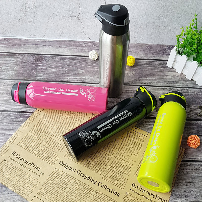 Hbf38824e1f3d419eb7a02fd14e9a99e9i 500ML Sport thermos water bottle Thermo Mug Stainless Steel Vacuum Flask mug with straw Insulation Cup Thermoses tthermal bottl