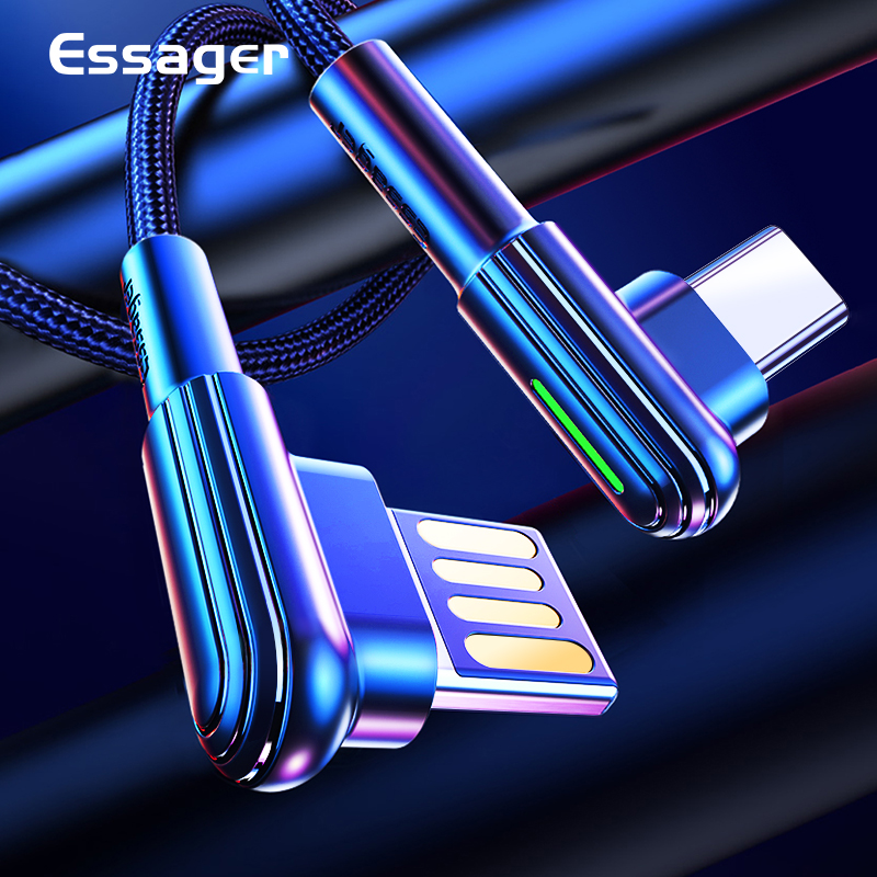 Essager USB C Mobile Phone Cable 90 Degree Type C USB Cord For Samsung S9 S8 Plus Note 3 USB C Cable Typec|Mobile Phone Cables|   - AliExpress