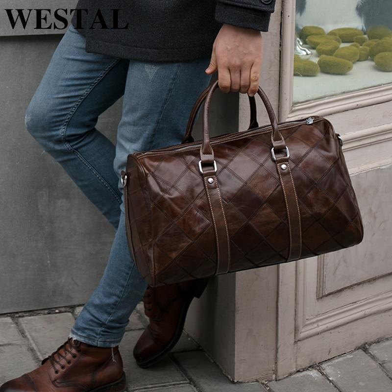 WESTAL Men's Travel Bags Hand Luggage Genuine Leather Duffle Bags Leather Luggage Travel Bag Suitcases Handbags Big/Weekend Bag