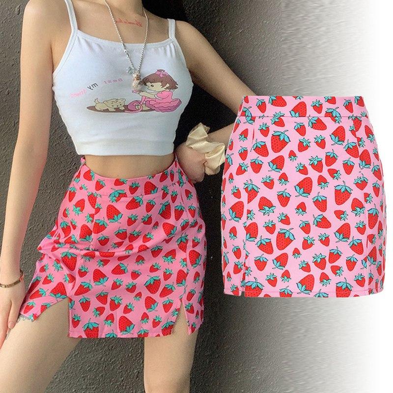 Ultimate Sale∞Woman Mini skirt Elegant Boho high waist Bandage 2020 Summer Short Skirts For women Strawberry Print A line Girls Pink skirt•