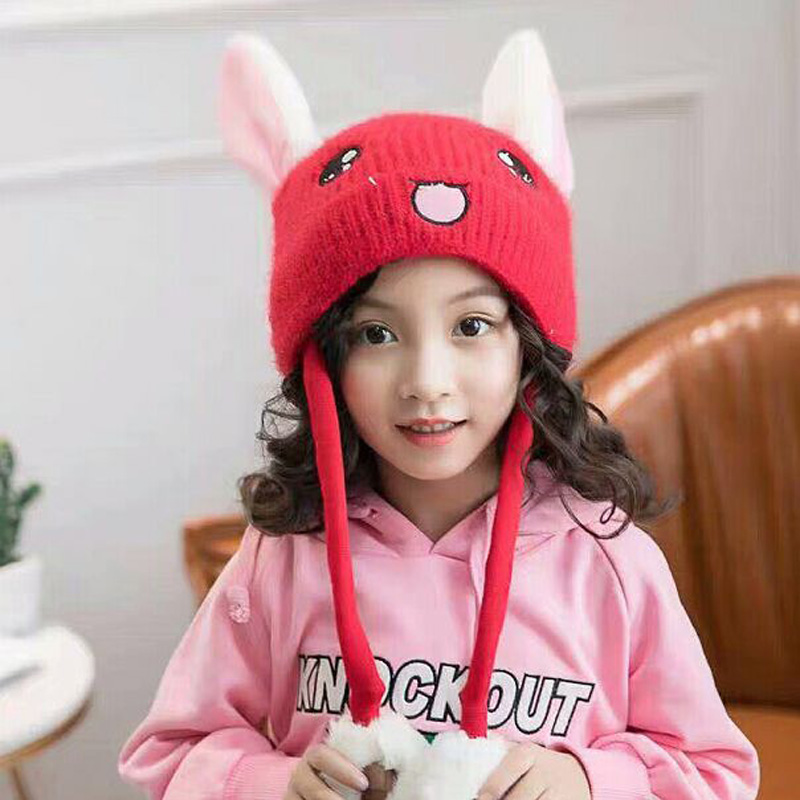 XEONGKVI Korean Lovely Rabbit Pinch Ear Move Children Knitted Cap Autumn Winter Warm Brand Mohair Skullies Hats For Boy Girl
