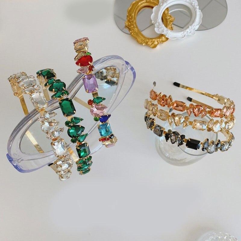 Купить алмазные геометрические винтажные стразы обруч на голову полный