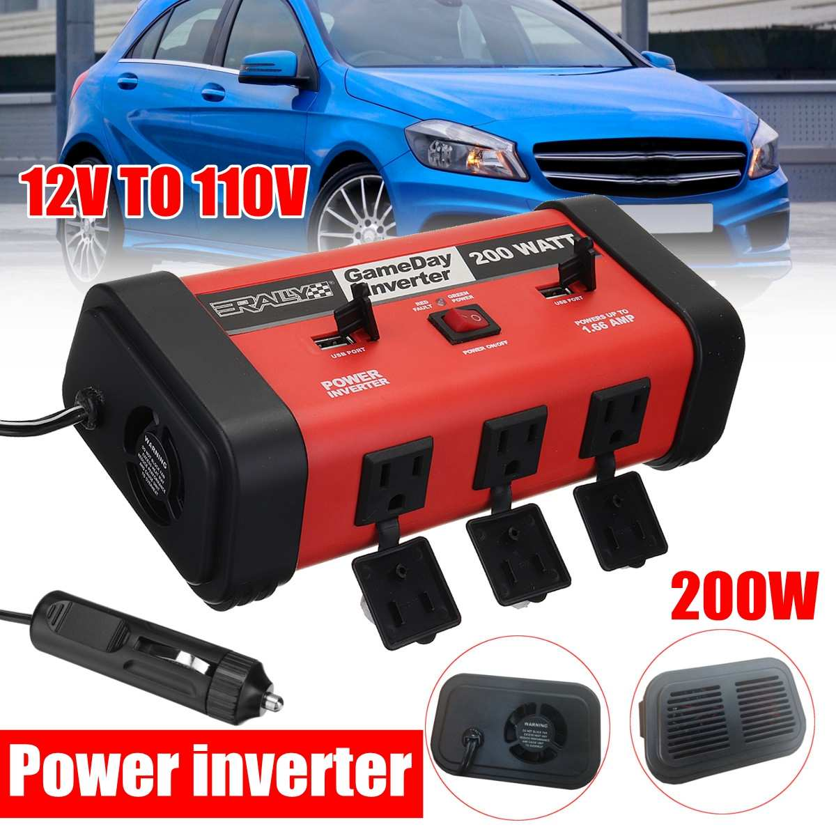 Auto Inverter 200W Auto Auto Power Inverter DC 12V zu AC 110V Adapter Konverter USB Ladegerät