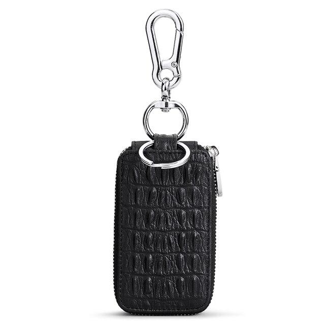 WilliamPolo cuir de vachette étui à clés en cuir hommes multifonctionnel porte-clés porte-monnaie grande capacité universel voiture clé stockage