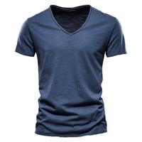 Camiseta 100% de algodón con cuello en V para hombre, camisetas ajustadas a la moda, camisetas de manga corta
