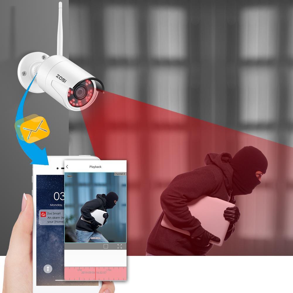 ZOSI Sistema de CCTV inalámbrico 8CH H.265 + 1080P NVR 2CH/4CH 2MP IR-CUT cámara CCTV al aire libre sistema de seguridad IP Kit de videovigilancia - 6