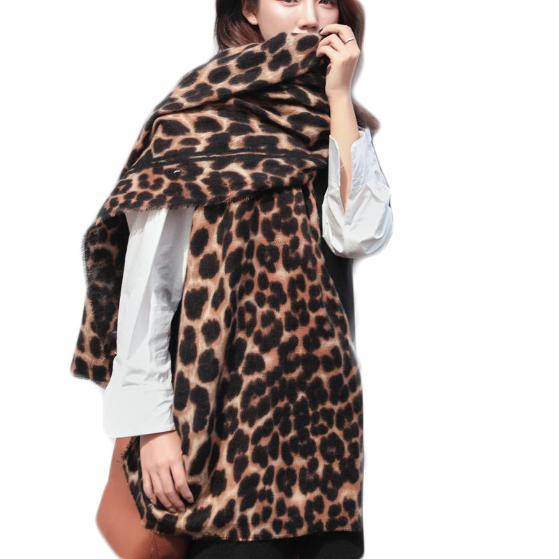200*90cm Large   Scarves   for Women Faux Cashmere Wnter Poncho Fashion Leopard   Scarf   Female Shawl Women's Tippet Leopard Pashmina