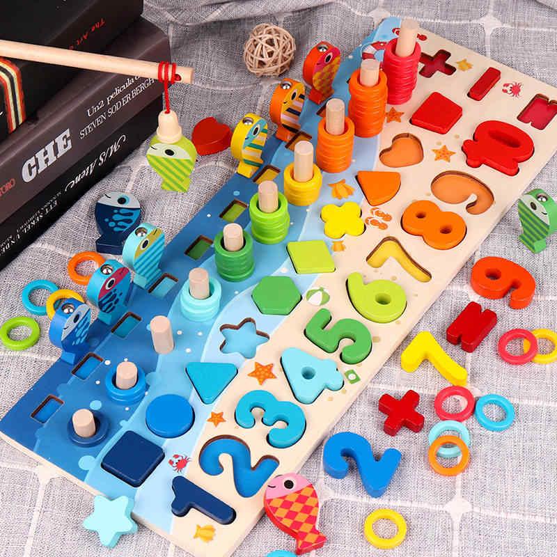 ثلاثية الأبعاد مرحلة ما قبل المدرسة الأطفال ألعاب تعليمية خشبية مونتيسوري الحساب المغناطيسي الصيد الرقمية شكل مطابقة بناء لعبة المكعبات