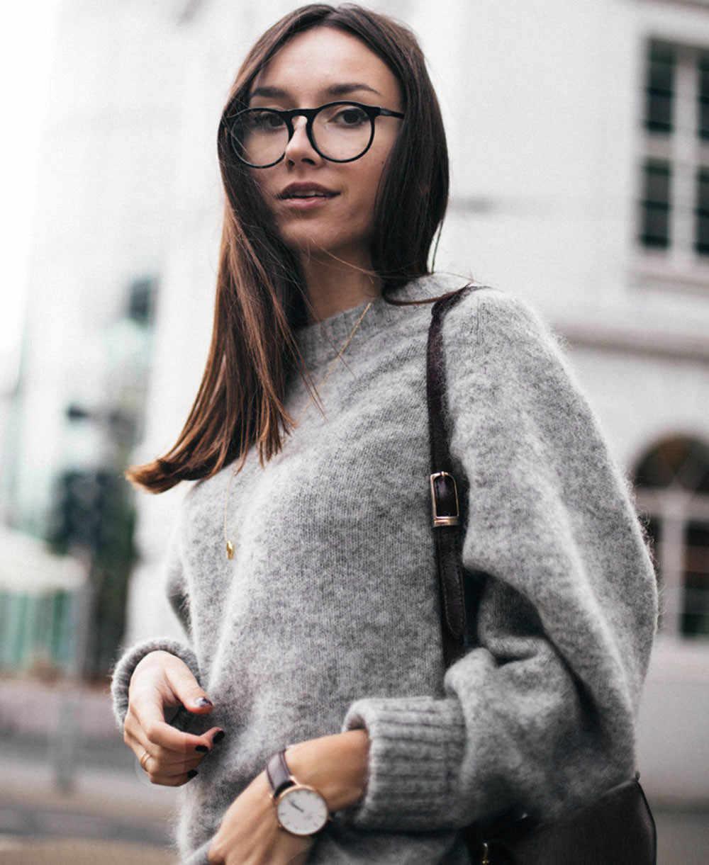 חדש אפור גולף נשים סוודר סתיו החורף ארוך שרוול Oversize מגשר 2019 סרוג רופף אופנה סוודר Femme Dropship