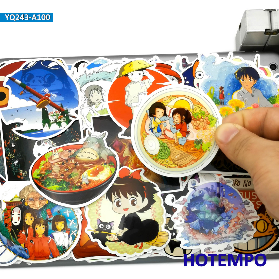 100pcs Manga Miyazaki Hayao Classic Cute Anime Movie Stickers Toy For Kid Mobile Phone Laptop Luggage Skateboard Cartoon Sticker