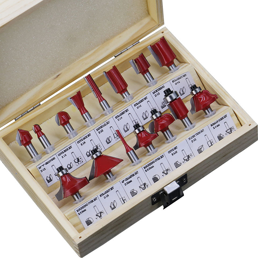 15pcs Router Bit Set 1/4 Inch Shank Milling Cutter Tool Kit With Wooden Case For Home Improvement DIY