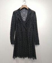 купить Women's high quality lace dress 2019 autumn long sleeves hollow-out V-neck dress A898 по цене 5861.16 рублей
