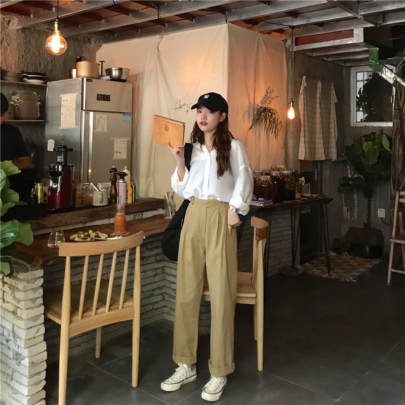 Hbf396fd8c1ba4fc08c2d02e0e88322e7W - Spring / Autumn Loose Straight Solid Pants