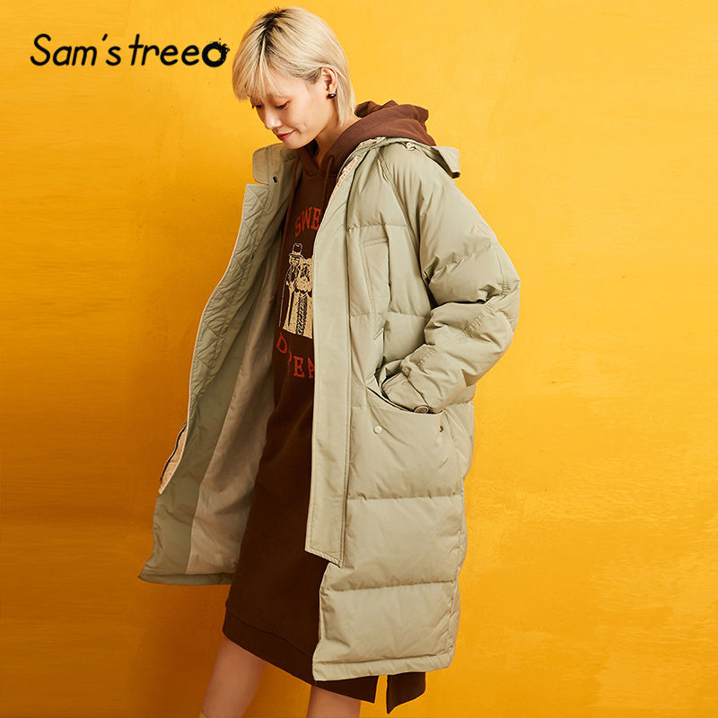 Samstree Yellow Solid Straight Line Warmness Down Coat Women 2019 Winter Special Office Ladies Casual Denim Oversized Outwears