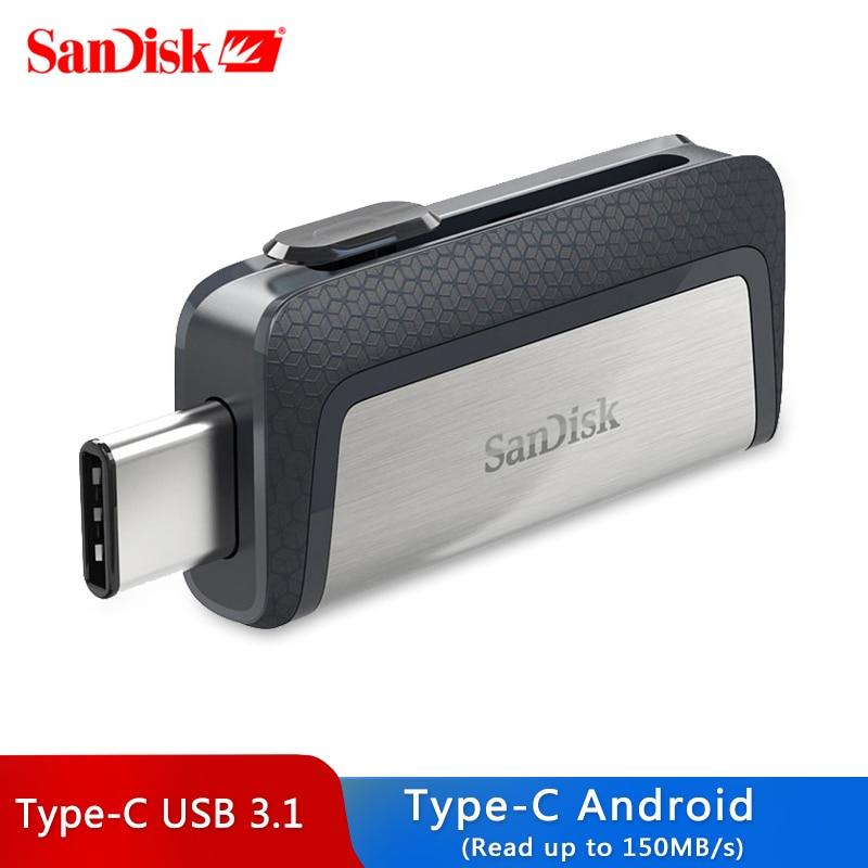 SanDisk USB флеш-накопитель ультра двойной USB3.1 привод USB Type-C диск ручка-накопитель 150 м/с 64 Гб 128 ГБ 256 ГБ для смартфона OTG