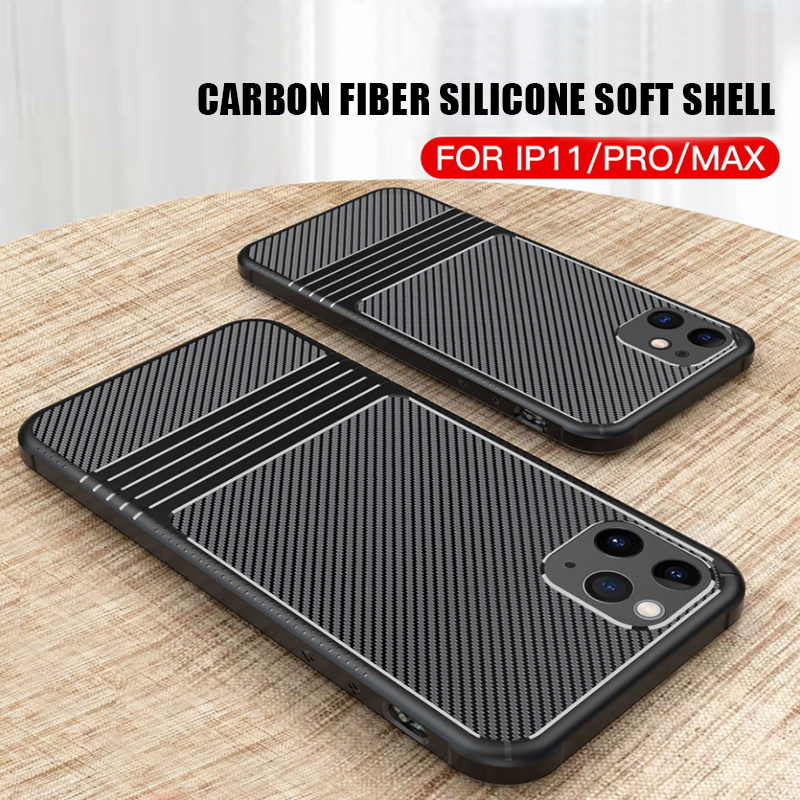 New IPhone 11 Mobile Phone Shell Silicone Soft Shell Apple 11 Pro Max Carbon Fiber Anti-fall Tpu Protective Sleeve