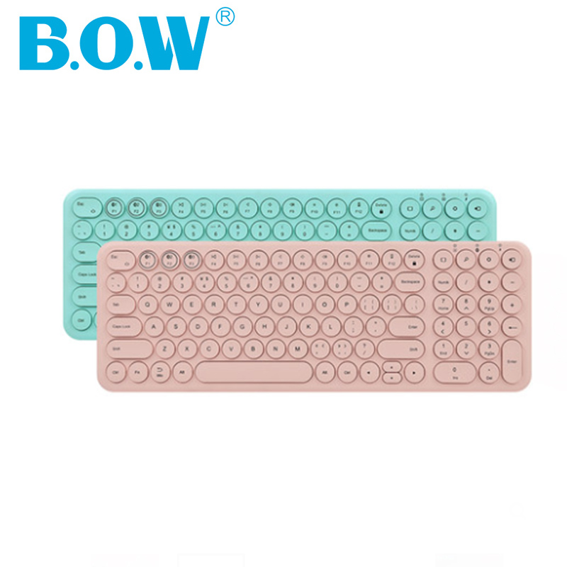 B.O.W 100keys Bluetooth Wireless Keyboard For Smartphont/tablet/laptop/compupter, Cute Keyboard Round And Silent Design Girls