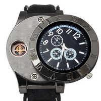 Nouveau USB Charge briquet montre coupe-vent électronique sans flamme briquet montres hommes montres Quartz montres horloge relogio masculino