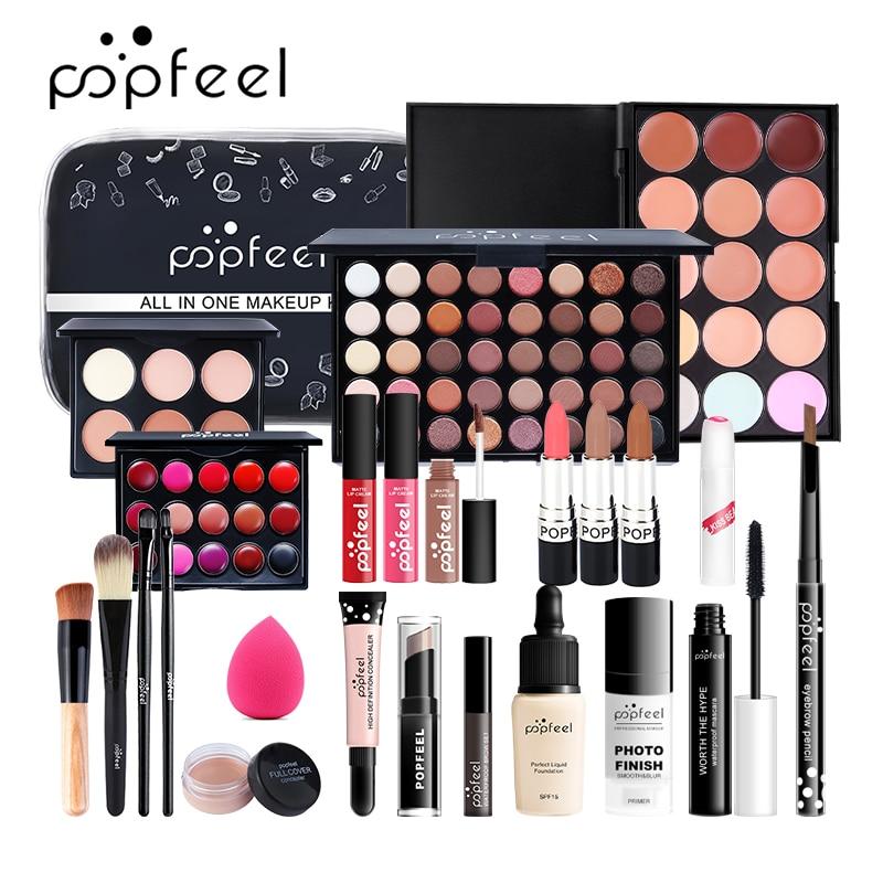 POPFEEL ALL IN ONE Makeup Kit (eyeshadow, Lip Gloss,lipstick,makeup Brushes,eyebrow,concealer)with Makeup Bag