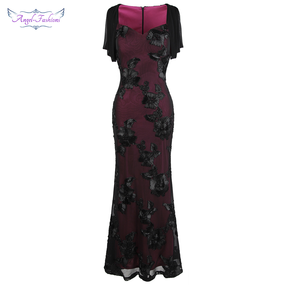 Angel-fashions Floral Embroidery Cut Out Sleeve Mermaid Long Evening Dress Mother Gown Wine Red 461