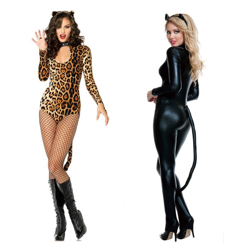 Sexy Catwoman Pather Leather Performing Suit Cosplay Costume Uniform Temptation Pole Dancing Night Club Outfit Free Shipping