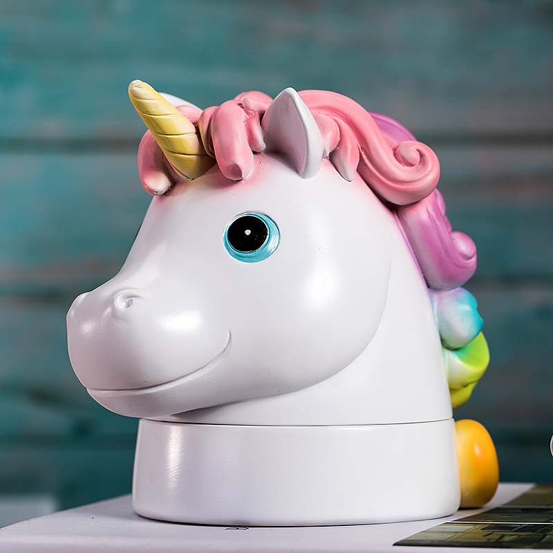 Kids Lovely Unicorn Design Milk Teeth Storage Collect Teeth Umbilica Save Box Resin Baby Souvenirs Tooth Box Storage Box ZL228