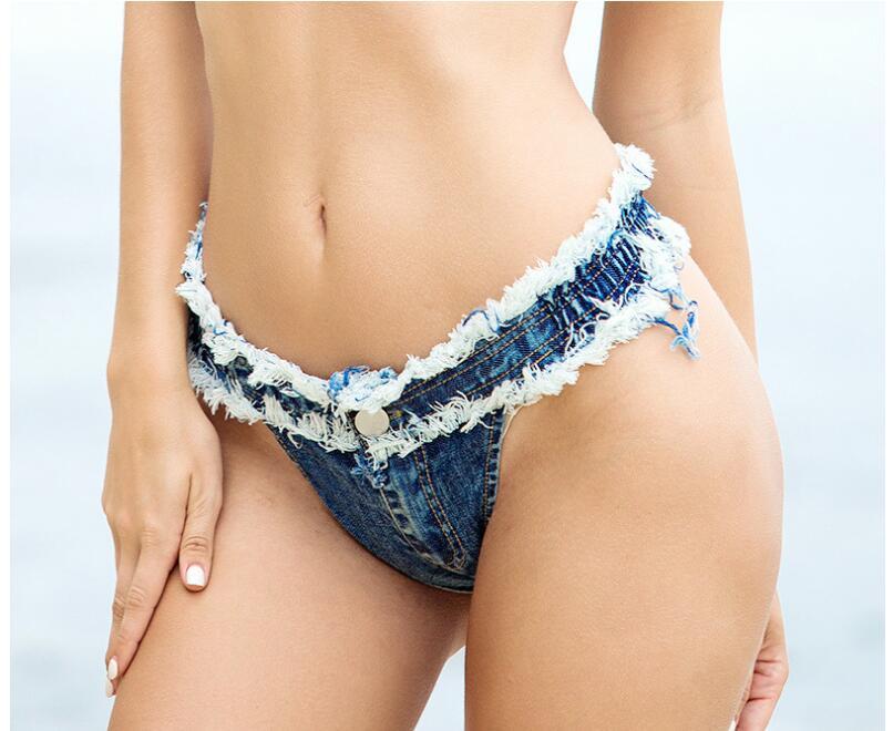 New Sexy Denim Shorts Women Short Femme Low Waist Bikini Summer Beach Spandex Micro Mini Shorts Jeans Night ClubWear Thong Jeans