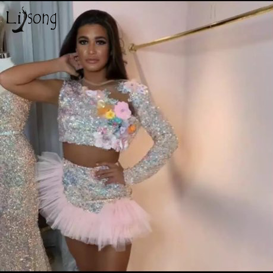 Shiny Sparkle Pink Sequined Beaded 2 Pieces Cocktail Dresses 2020 Sexy 3D Flower Mini Formal Party Dress Ruffles
