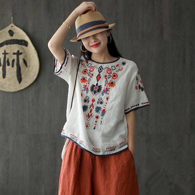 New Embroidered Tshirt Cotton And Hemp Top Women's Summer Korean Version Short Sleeve Literature And Art Leisure Pullover Shirts 4