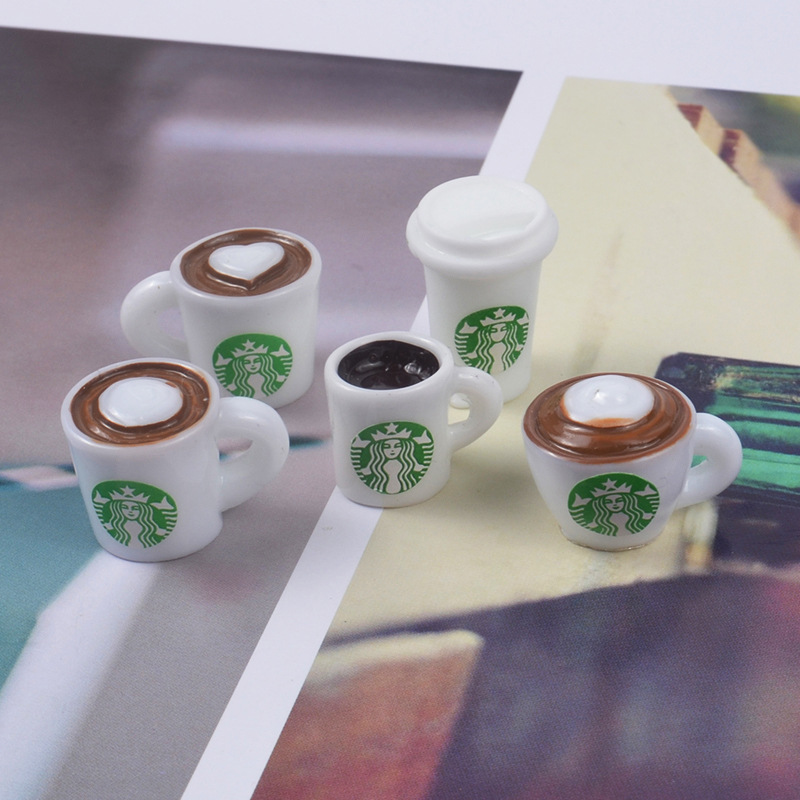 5pcs Slime Charms Coffee Cup Bottle Resin Plasticine Slime Accessories Beads Making Supplies For DIY Scrapbooking Crafts
