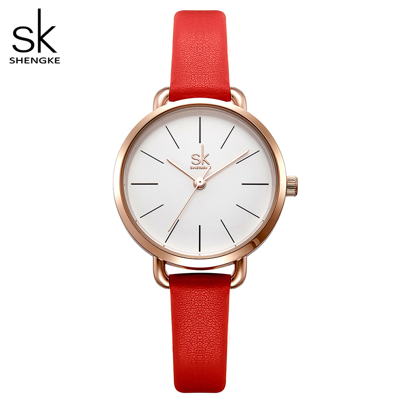 SHENGKE 2018 New Red Leather Strap Women Watches Simple Dial Ladies Quartz Clock Colorful Selection Freestyle Relogio Feminino